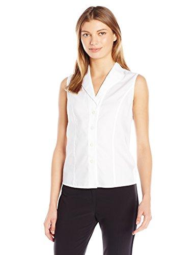 Calvin Klein Cotton Suit - Calvin Klein Women's Sleeveless Wrinkle Free Button Down Shirt, White, 10
