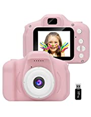 GlobalCrown kinder camera,Minioplaadbare digitale camera's voor kinderen,schokbestendige videocamera cadeaus voor jongens Meisjes,8 MP HD-video 2 inch voor buiten spelen (kaart van 32 GB inbegrepen)