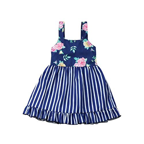 Toddler Kids Baby Girl Floral Halter Ruffled Outfits Clothes Tops+Shorts 2PCS Set (4-5 Years, Blue 1)