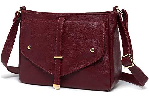 Crossbody Bags for Women,VASCHY Vegan Leather Fashion Handbag Purse Shoulder Bag Burgundy