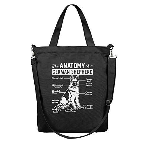 Women The Anatomy Of A German Shepherd dog Large Printed Durable black Work Bags Shoulder Canvas Tote Shopping Bag