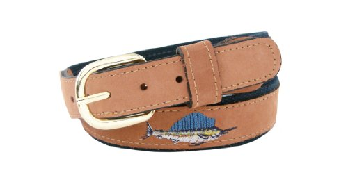 ZEP-PRO Men's Tan Leather Embroidered Sailfish Belt, 36-Inch, Tan/Navy
