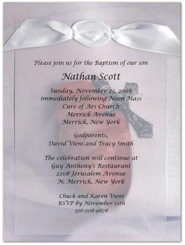 (Sacrament of Baptism Vellum Baptism Christening Invitations - Set of 20)