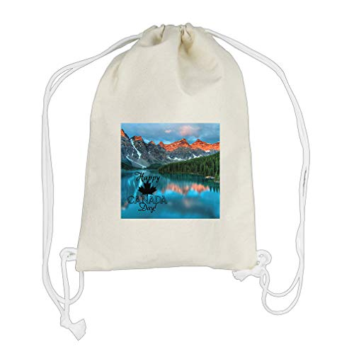 Lake with all saying Happy Canada Day! Cotton Canvas Backpack Drawstring Bag by Style in Print