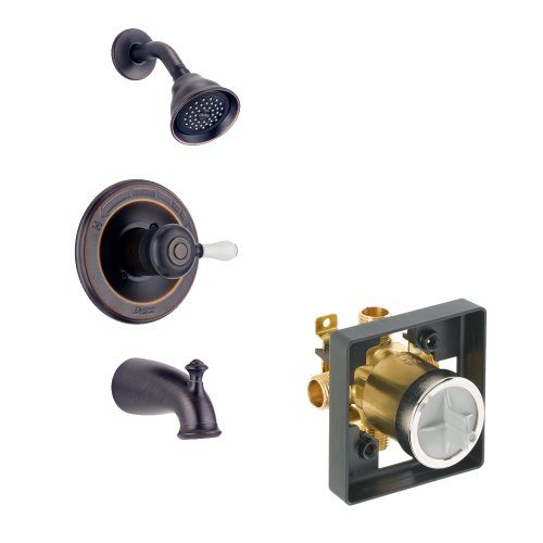(Delta Delta KTSDLE-T14478H777-RB Leland Tub/Shower Kit Pressure-Balance Single-Function Cartridge with Porcelain Lever Handle, Venetian Bronze Venetian Bronze)