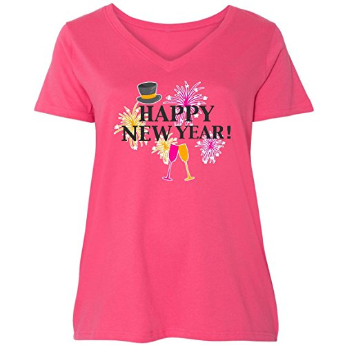 inktastic Happy New Year With Hat Ladies Curvy V-Neck Tee 4 (26/28) Pink 2da37