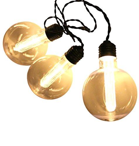 E.D. Edison Style LED 8-Light String, Battery Powered, Globe