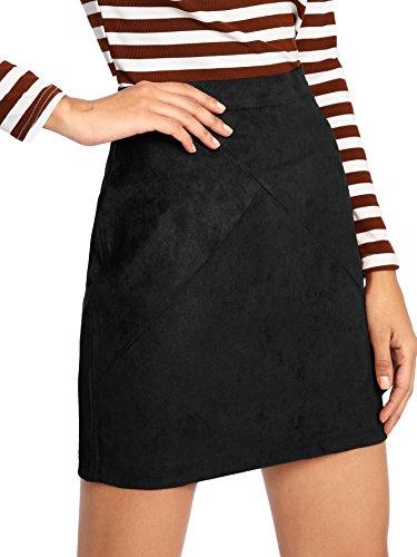 MAKEMECHIC Women's Zipper Back A-line Bodycon Mini Faux Suede Skirt Black S