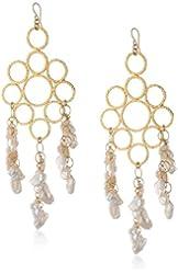 Devon Leigh White Freshwater Pearl Gold Chandelier Earrings