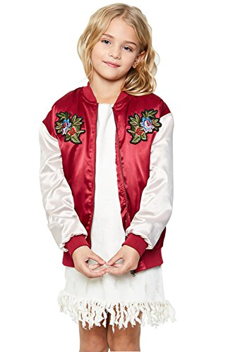 Lightweight Silk Coat (Girls Bomber Jacket Lightweight fashion Patch Flight Military Windproof Coat with Embroidery)