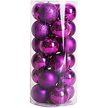 VOLUMUS 24ct Christmas Ball Ornaments 1.6-Inch Colorful Shatterproof Decoration