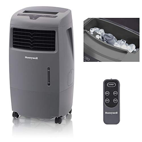 Honeywell 500-694CFM Indoor Outdoor Portable Evaporative Cooler with Fan & Humidifier, Ice Compartment & Remote Control, CO25AE, Gray ()