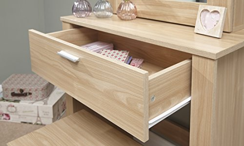 Oak The Furniture Warehouse Hobson Sliding Mirrored Dressing Table /& Stool GFW