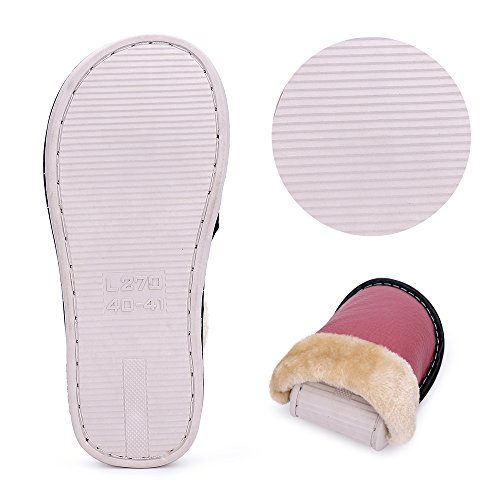 Slippers Pink Men Plush and For Winter Leather Women Indoor Lining okay Comfortable Outdoor and w0O4gXXq