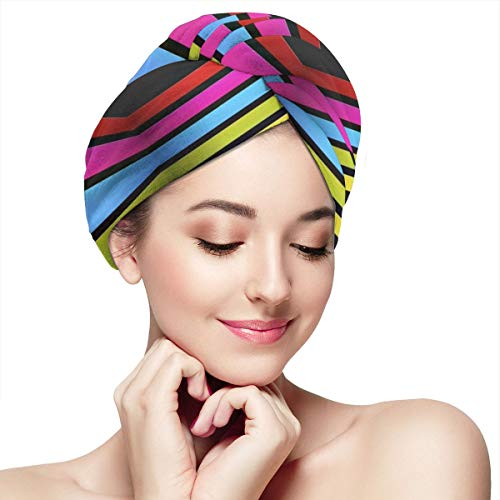 Women's Soft Shower Hair Drying Towels Twist Rainbow Stripes Wallpaper Long Hair Turban Wrap Drying Cap Hat Great Gift for Ladies Girls 28 x 11 inch