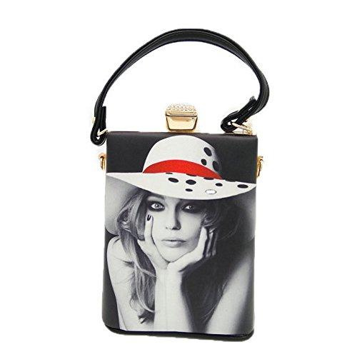 Packet Bags Printed Doodle Personality Black1 Ladies Evening Crossbody Handbag Fashion Bag Shoulder qwHTxxpXv