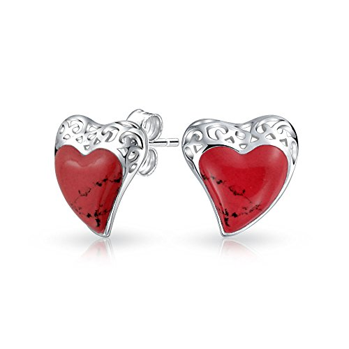 Filigree Red Coral Heart Stud earrings 925 Sterling Silver 19mm