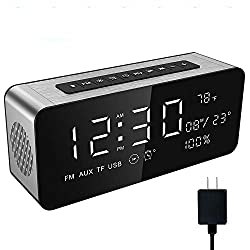Soundance Alarm Clock Radio - FM Radios, Wireless Speaker, TF/SD Card USB Port Disk Player, 9 Large LED Display for Bedroom Bedside Office Desk, A10 with Charger Silver