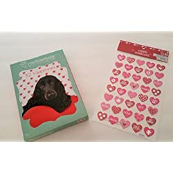 Valentines Cards for Classroom Exchange, Bundle of 32 Animal Themed Valentine Cards and 40 Fancy Heart Stickers.