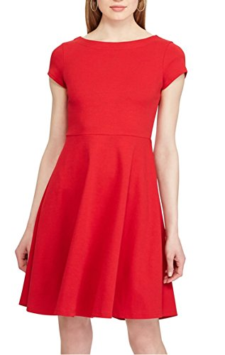 Chaps Women's Ponte Fit & Flare Dress, Yacht Red (Chaps Womens Dress)