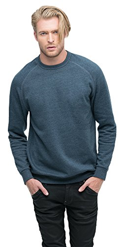 econscious Heathered Fleece Raglan Crew Unisex Sweatshirt, Water, Large