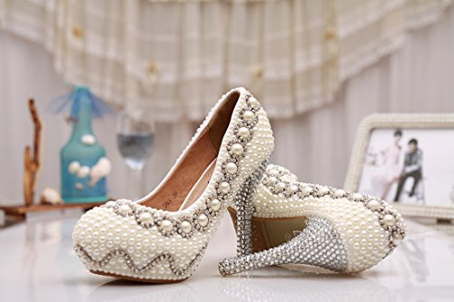 Minishion Womens Piattaforma Nascosta Handmade Raso Wedding Party Sera Prom Pompe Scarpe Tacco Di Avorio-12cm