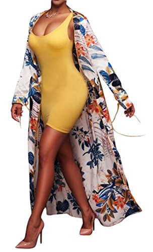 LUKYCILD Women Open Front Floral Print Long Kimono Cardigan Coat Beach Cover Up