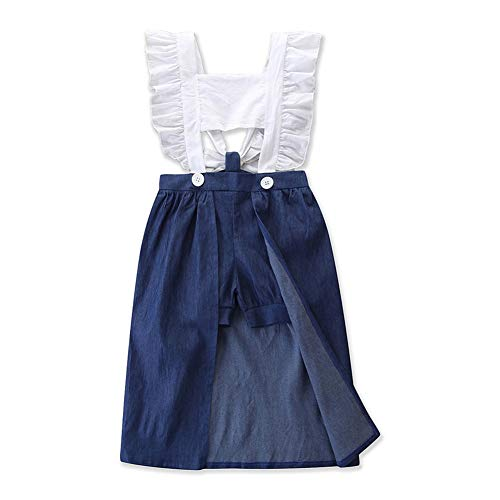 3PCS Toddler Kids Baby Girls Summer Outfit Lace Top Denim Shorts Ruffle Dress Clothes Set (4-5T, White+Ruffle)