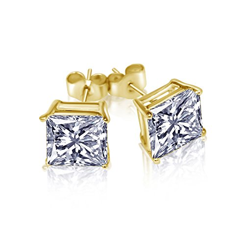 Gold Overlay Princess Cut Stud Unisex Earrings CZ 925 Sterling Silver Cubic Zirconia 3 CT