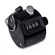 HDE Handheld 4 Digit Number Counter Mechanical Tally Lap Tracker Manual Clicker (Black)