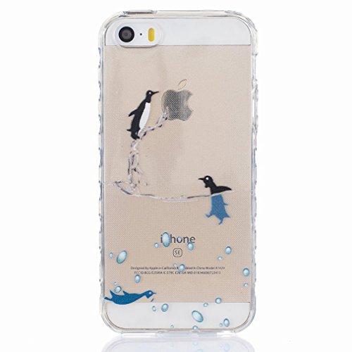 Ougger Apple iPhone 5s / iphone SE Custodia Case, Antigraffio Trasparente Cristallo Durevole Slim Morbido TPU Gomma Silicone Flessibile Protettivo Skin Shell Bumper Rear (Modello 3)