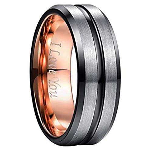 - NUNCAD Black and Rose Gold Plated Tungsten Carbide Wedding Ring Matte Finish Beveled Edges Comfort Fit Size 10.5