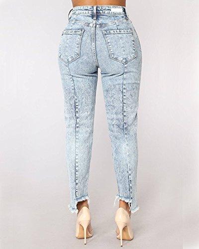 Dchirs Pantalon ZhuiKunA Bleu Taille Haute Extensible Jeans Cheville Skinny Femmes Fonc Crayon Cropped CW55Hn