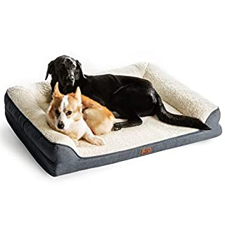 "Bedsure Orthopedic Pet Sofa Beds for Small, Medium, Large Dogs & Cats - 42""x32""x7"" Extra Large Dog Beds, Grey - Memory Foam Couch Dog Bed with Removable Washable Cover - Bolster Dog Beds"