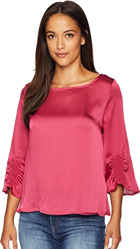 Vince Camuto Womens Gathered Sleeve Boat Neck Satin Blouse Pink Rose XL (Top Gathered Sleeve)