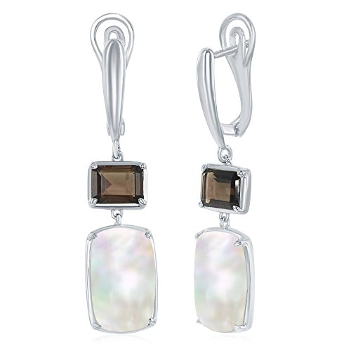 Sterling Silver Rectangle Smoky Quartz with Mother of Pearl Earrings
