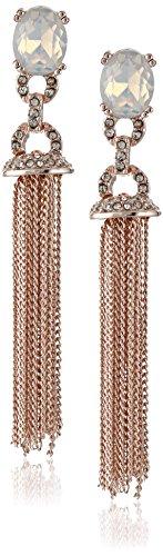 "Anne Klein ""Pretty AND Pastel"" Rose Gold White Opal Crystal Tassel Drop Earrings"