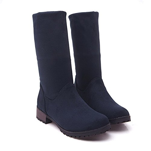 Støvler Semsket Solid Hæler Kvinners Lav top on Lave Blå Agoolar Pull Imitert UvxZxaq