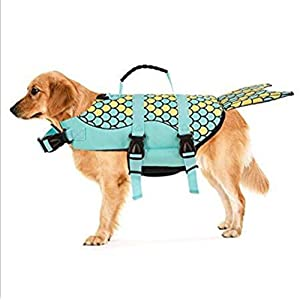 Cosplay Dog Life Jacket Vest Professional Pets Swimming Training Clothes with Lift Assist Handle Mermaid Shark Clown (S… Click on image for further info.