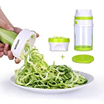 Sedhoom Handheld Vegetable Spiralizer with Container Large Capacity Green and Light Versatile Hand Held Spiral Slicer