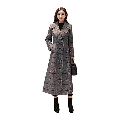 Teapots & Coffee Servers Woolen coat ladies long windbreaker slim coat over the knee coat (Color : Gray, Size : XXL) ()