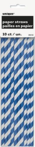 Royal Blue Striped Paper Straws
