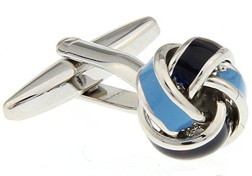Men's Executive Cufflinks Silver Light Blue Dark Blue Knots Cuff (Light Blue Knot Cufflink)