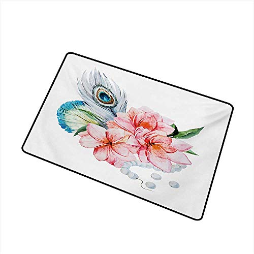 (Waterproof Door mat Shabby Chic Watercolor Style Peony Anemone Flowers Peacock Feather and Beads Artful Image W24 xL35 All Season General)