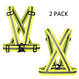 Reflective Vest Elastic & Adjustable Reflective Gear with Hi Vis Suspenders Bands | High Visibility for Running,Dog Walking,Jogging,Cycling,Motorcycle Safety (2 Pack)