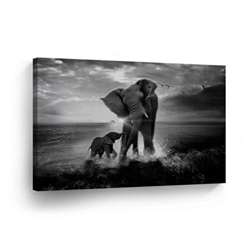 Elephant Decorative Art Canvas Print Modern Wall Decor Artwork Wrapped Wood Stretcher Bars Vertical- Ready to Hang -%100 Handmade in The - Canvas Print Elephant