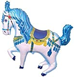 "35"" BLUE CAROUSEL HORSE foil BALLOON party CIRCUS favors CARNIVAL"