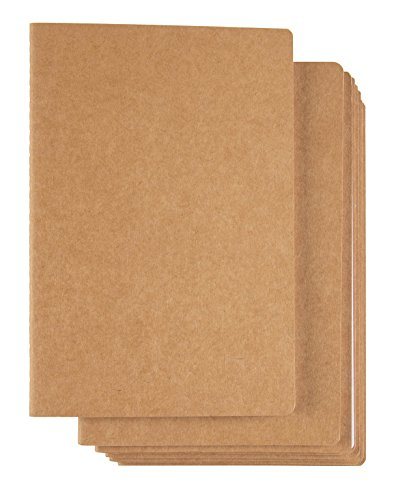 Kraft Notebook - 8-Pack Dotted Grid Notebook Journals, Pocket Journal for Travelers, Diary, Notes - A5 Size, Soft Cover, 80 Pages, Brown, 8.26 x 5.6 Inches