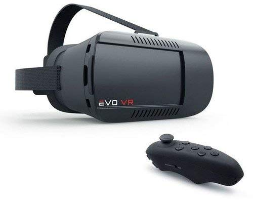 Merkury EVO NEXT VR 360 Virtual Reality Cell Phone Smartphone 3D Headset with Bluetooth Controller (Black)