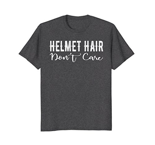 Grey Large Street Bikes - Mens Helmet Hair Don't Care Motorcycle Bike Cycle Riding T-shirt Large Dark Heather